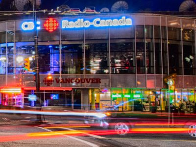 night time photo of CBC Radio building in Vancouver