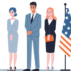 sketch of women with men on stage with US flags on either side