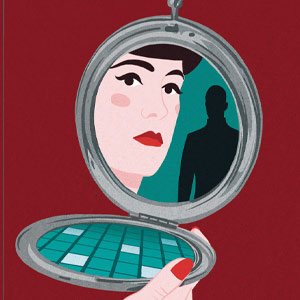 Book cover, drawing of woman's face reflected in a make-up compact with a man in the background