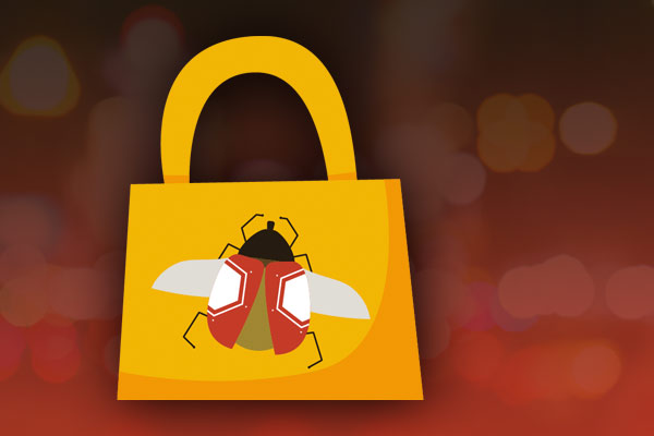 Illustration of a handbag with a fly motif on it