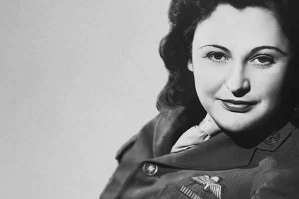 Black and white photos of Nancy Wake taken in 1945