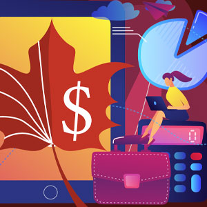 Illustration of a women with a laptop surrounded by charts and graphs and a maple leaf with a dollar sign on it