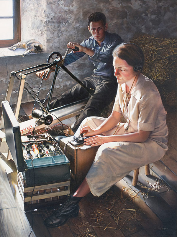 Oil painting depicting a woman at the controls of a short wave radio