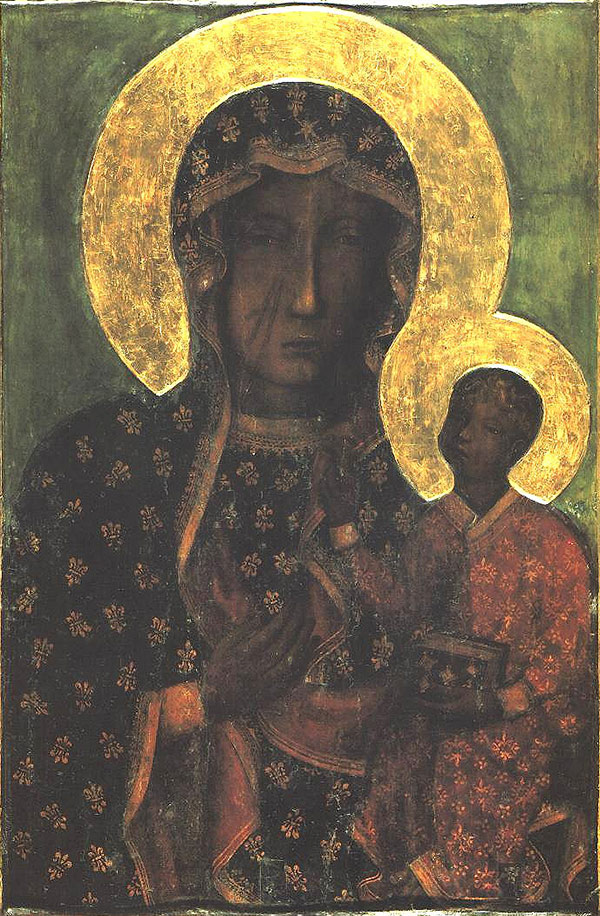 And old painting of the Black Madonna