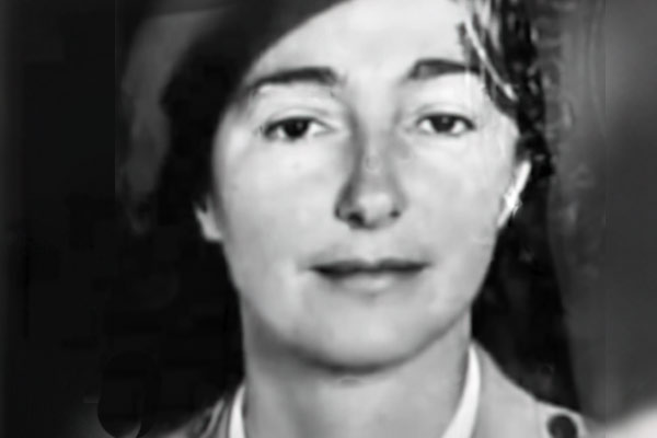 black and white photo from identification papers of Krystyna Skarbek