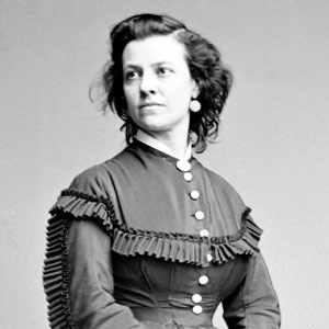Black and white photo of Pauline Cushman, circa 1860