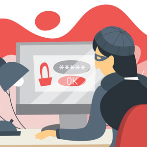 A stylized drawing of a woman in a mask logging onto a secure page on a computer