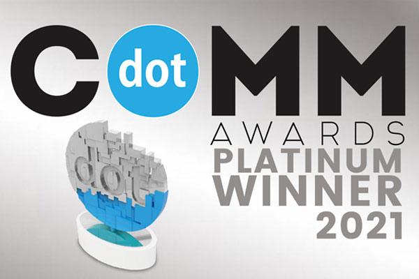 DotComm Awards logo with Platinum Winner 2021