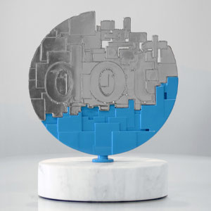 An illustration of the DotComm awards, Platinum Statuette