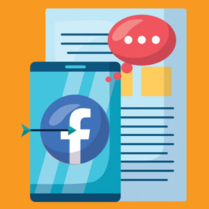 Illustration of a mobile phone and website page with apps open, and a Facebook logo with an arrow on it indicating it's a target