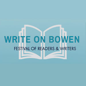 Write on Bowen logo - a drawing of a book with text - Write on Bowen, Festival of Readers and Writers