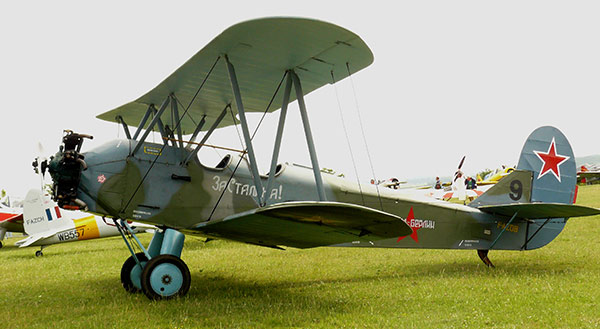 Photo of a restored Polikarpov-2  aircraft, a biplane