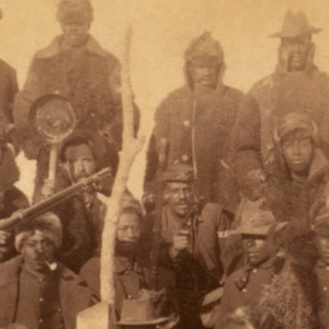 photograph of a group of Buffalo Soldiers of the 25th Infantry Regiment in 1890