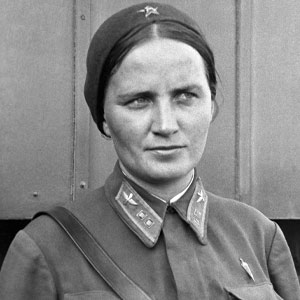 Black and white photo of of Marina Raskova in uniform, 1938