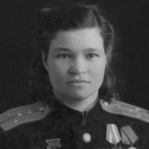 Black and white photo of Irina Sebrova in uniform