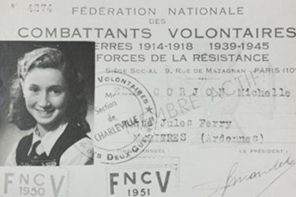 Identification Card with a black and white photo of Michelle Corjon with French writing on it
