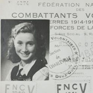 Identification Card with a black and white photo of Michelle Corjon with French writing on it,