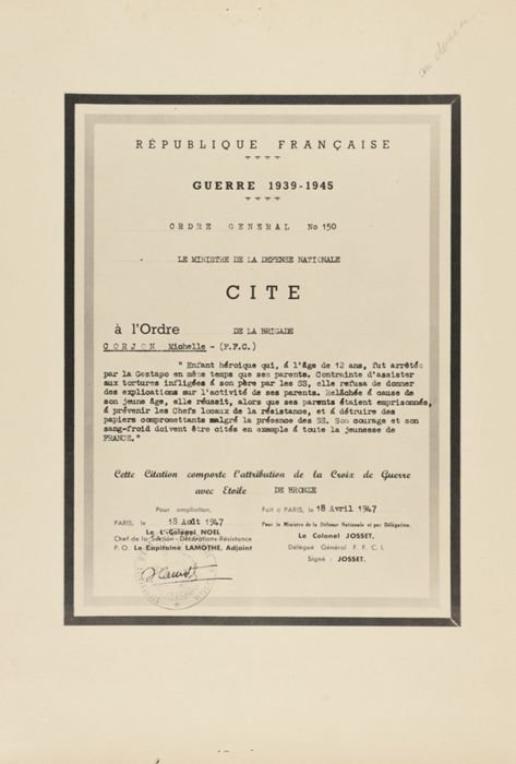 Scan of a French government document (citation) and award , dated 1947